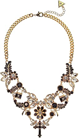 Ornate Stone Statement Necklace Jet, Gold