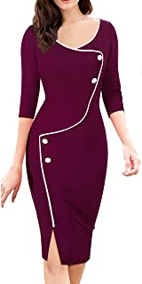 HOMEYEE Women's Retro 3/4 Sleeve Formal Evening Cocktail Pencil Dress B329