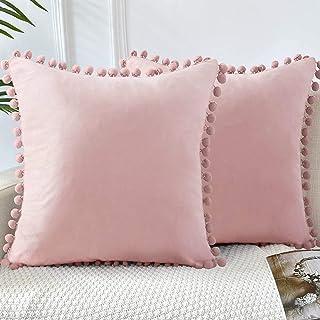 GaoTuo Terciopelo Suave Fundas de Almohada Decorativas de Terciopelo para el hogar, sofá Cama con Bola de Color sólido, Sala de Estar, Dormitorio, Estudio (Rosa)