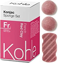 French Red Clay Konjac Sponge Set (3 Pack): Organic Skincare Set, 100% Natural, Plant-Based Cleansing & Exfoliating Sponges. (Including 2 x Face Sponge & 1 x Body Sponge) #1 UK BESTSELLER