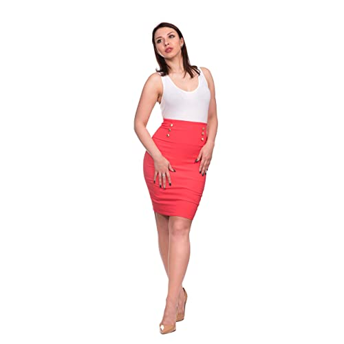 1dd2b0fcfc OrlyCollection Women's Elegant Gold Button Slim Fit Midi Stretchy Pencil  Skirt -Detailed for Office Wear