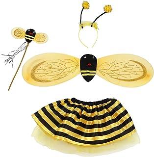 Bopfimer 4Pc Bumble Bee Honey Girls Kids Fairy Halloween Fancy Dress Up Party Costume