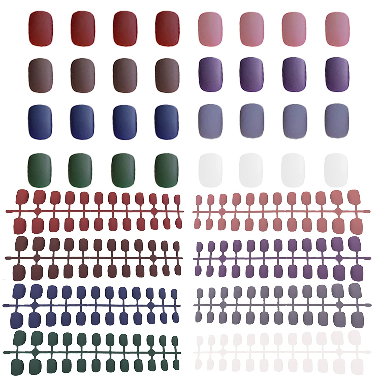 Courier shipping free shipping MUACHCHA 8 Packs 192 Pieces Colorful Short Squ New item Matte Nails False
