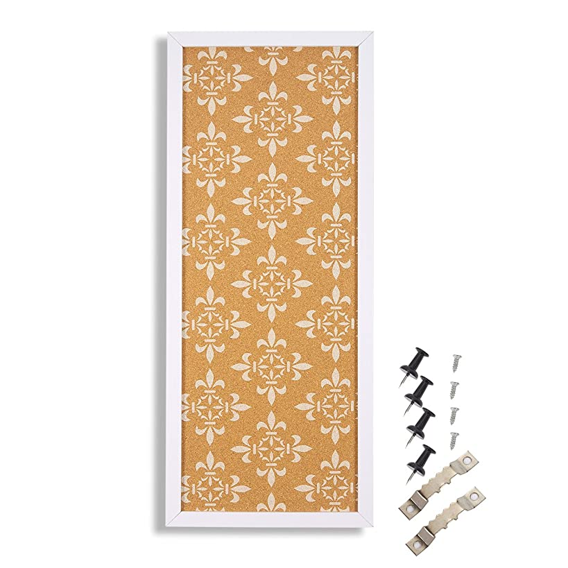 Cork Bulletin Board - Decorative Framed Corkboard Wall Decorwith White Floral Print - Perfect for Pinning Memos and Reminders - White, 23.7 x 9.7 x 0.6 inches