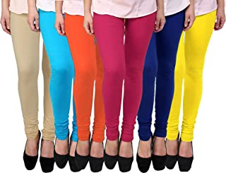 FABLAB Women's Cotton Leggings Set(FLCLCOMBO6-10,OrangePinkYellowBlueBegieSkyblue,FREE SIZE) Combo Pack of 6