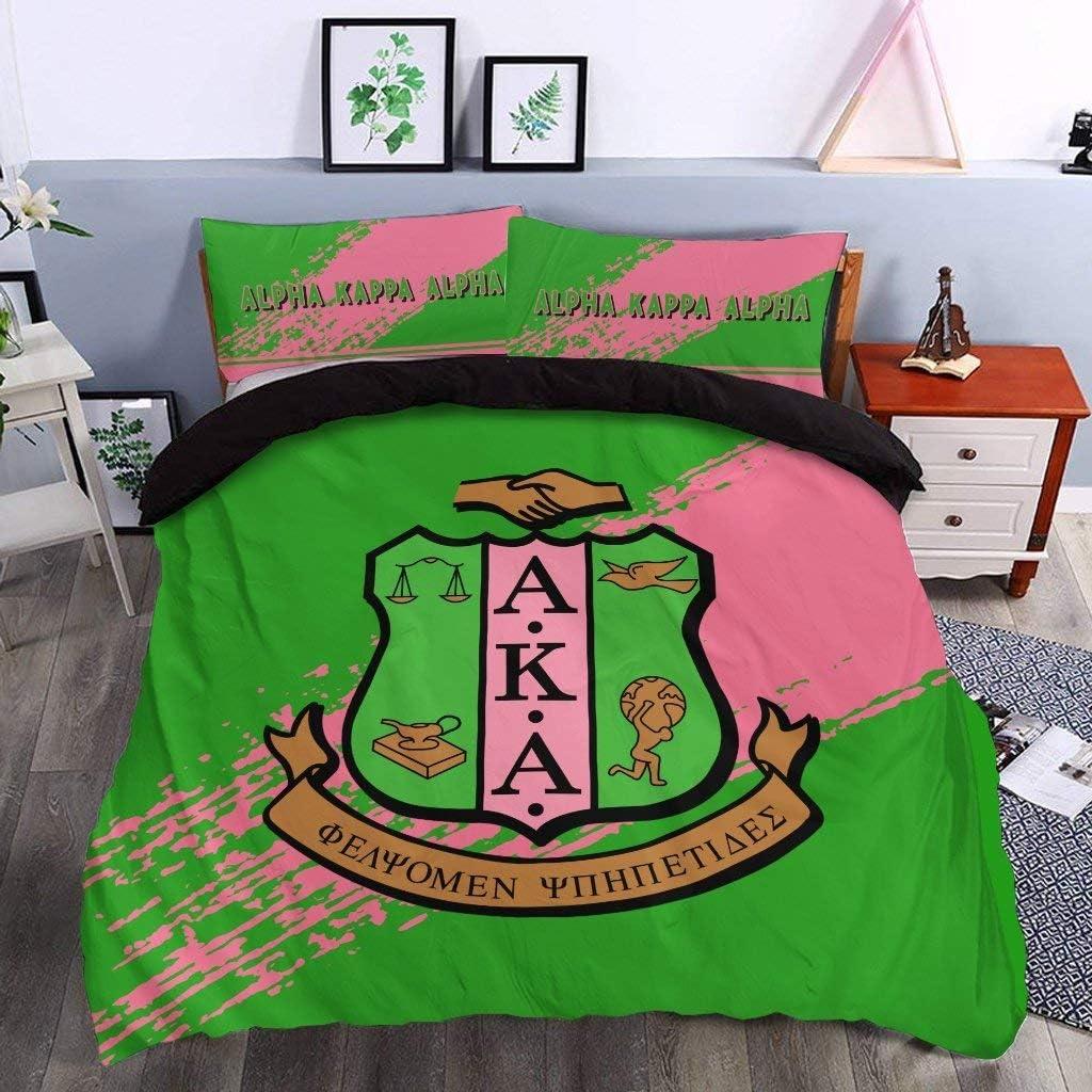 A-K-A 業界No.1 GreenPink 3 Pieces Bedding Duvet Cover 3D Duv Printed 店内全品対象 Set