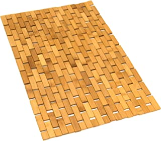 Gonioa Natural Bamboo Bath Mat, Wooden Door Mat Kitchen Floor Rug, Bathroom Shower and Tub Mats, Wooden Bath Mat for Shower, Bath, Spa Or Sauna