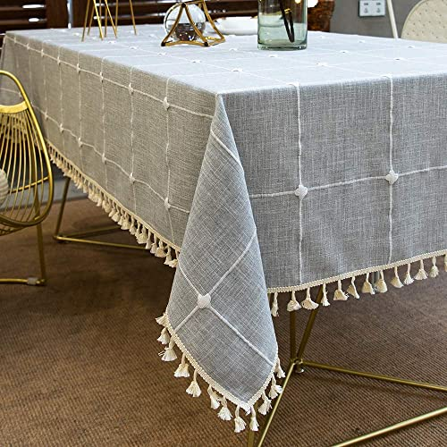 TEWENE Tablecloth, Rectangle Table Cloth Cotton Linen Wrinkle Free Anti-Fading Embroidery Checkered Tablecloths Dust-...