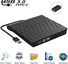 USCVIS Grabadora de DVD/CD Externa USB 3.0, Unidades de DVD Externa Portátil CD/DVD/- RW/CD ROM, Transferencia de Alta Velocidad con Capacidad de Lector/Quemador para Win 10/8/7/Linux/Macbook/Desktop