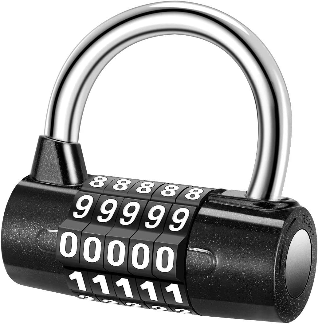Allnice 5 Digit Combination Lock Security Padlock Combination Resettable Locks Zinc Alloy Material Waterproof Number Lock for Gym School Office Home or Outdoor Shed
