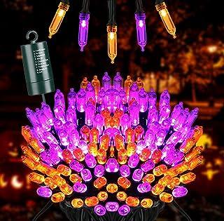 Joomer Oranje en Paars Halloween Lichtslingers, 10M 100 LED Batterij Aangedreven Kerstverlichting Waterdicht met 8 Standen...