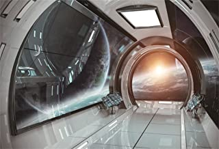 AOFOTO 7x5ft 3D Spaceship Interior Background Futuristic Sci-Fi Space Station Photography Backdrops Spacecraft Cabin Astronomy Universe Galaxy Exploration Outer Spaceport Photo Studio Props Vinyl