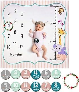 ANBET Baby månatlig milstolpe filt, nyfödd fotografi bakgrund fotorekvisita månatliga klistermärken och krans för pojkar f...