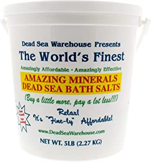 Dead Sea Warehouse - Amazing Minerals Dead Sea Bath Salts, Temporary Relief From Dry Itchy Skin, Aches and Pains, Exfoliates and Moisturizes, 100% Full Mineral (5 Pounds)