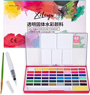 Xileyw watercolor paint set-Includes 48 Assorted Premium Colors - 1 Water Brush - 1 Pinting brush - 1 sponge , for Artist kids portable travel sketch painting