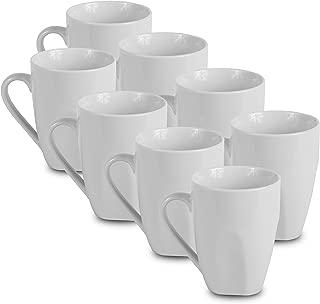 8 White Coffee Mugs   12oz Solid Porcelain Dinnerware   Klikel Ceramic Mug Set