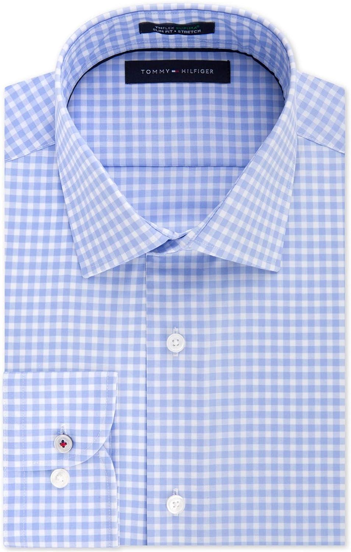 Tommy Hilfiger Mens Gingham Button Up Dress Shirt