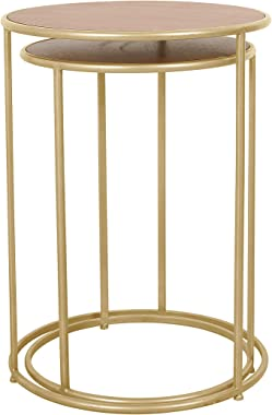 Round Nesting Small Side Tables with Wooden Top, Gold Stacking End Tables for Living Room Bedroom Balcony (Set of 2)