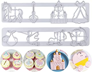 Mity rain Baby Shower Cookie Cutters - Baby Carriage/Castle Cake Fondant Embossing Cutter for Sugarcraft Gumpaste Fondant ...
