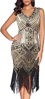 Flapper Vestidos de Mujer de los años 20 con Cuello en V con Cuentas de Flecos Great Gatsby Dress Años 20 Estilo Vintaje V...