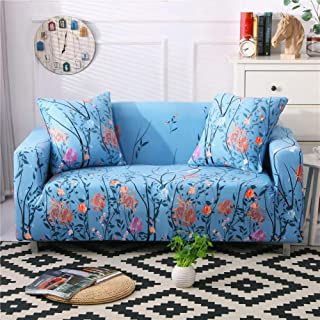 Stretch Sofa Slipcover Fitted Furniture Protector Print Sofa Cover Stylish Couch Cover with 2 Pillow Cases for Loveseats/Sofas/Sectional Couches,Happy Floral