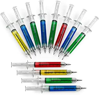 Kicko Syringe Pens – 12 Pack Multi-Color Syringe Pen – Writes in Blue or..