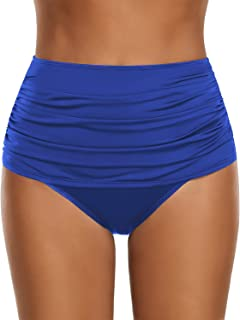 luvamia Women's High Waist Ruched Bikini Bottom Solid Swim Shorts Tankini Brief