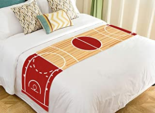 ABPHQTO Basketball Court Parquet Bed Runner Bedding Scarf Bed Decoration 20x95 inch