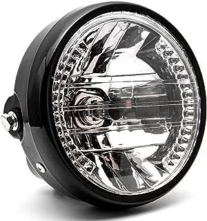 Krator 6.75'' Universal Black Motorcycle Headlight + Turn Signals LED Indicator H4 Bulb