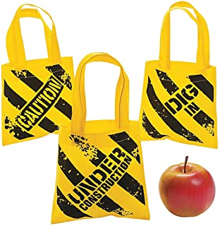 Fun Express Construction Zone Mini Tote Bags - 12 ct