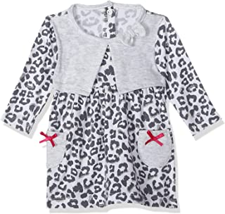El Sayaad Patterned Front Pockets Long Sleeves Round Neck with Bow Dress for Girls