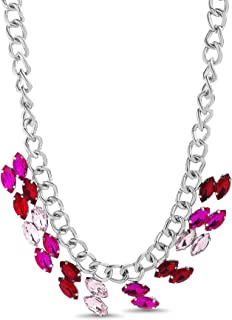 """Steve Madden 18"""" Silver Tone Red and Pink Double Marquise Shaped Rhinestone Color Necklace for Women"""