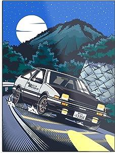 ZHONGYANYANYANYAN Downhill Initial Hachiroku D Attack Takumi Fujiwara Poster Gift for Home Decor Wall Art Print Poster