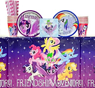My Little Pony Friendship Adventures Birthday Party Supplies Pack for 16 Guests | 24 Paper Straws, 16 Dessert Plates, 16 Beverage Napkins, 1Table Cover, and 16 Paper Cups | My Little Pony Birthday Party Supplies