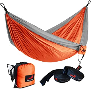 HONEST OUTFITTERS Single Camping Hammock with Hammock Tree Straps,Portable Parachute Nylon Hammock for Backpacking Travel