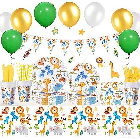 Articoli Feste Animali Della Giungla Set Comprensivo Piatti, Tazze, Tovaglioli, Forchette, Coltelli, Cannucce, Tovaglia, Palloncini, Decorazioni per Feste Tema Animali Safari Compleanno Ragazzi