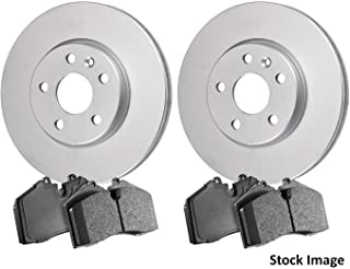 Stirling 2011 For Kia Sorento Front Cross Drilled Slotted and Anti Rust Coated Disc Brake Rotors and Ceramic Brake Pads