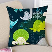 Linen Fabric Decorative Throw Pillow Cover Case with Invisible Zipper for Sofa Bench Cute Dino Print On Behance 18inch 18inch