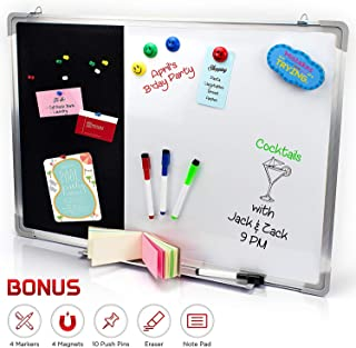 Combination Dry Erase Magnetic Whiteboard & Black Felt Pin Bulletin Board. Vision/Memo Board for Office, Cubicle, School, Kids or Home- 20 x 27 Inches | Markers, Eraser, Magnets, Push Pins and Notepad