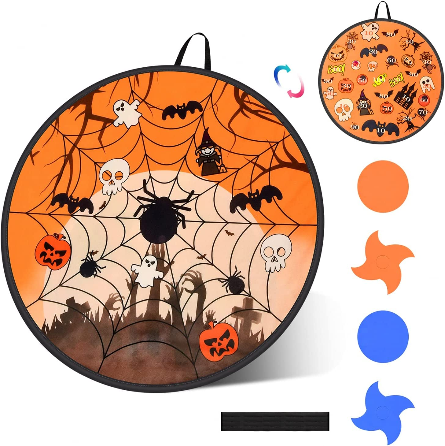 JETEHO Halloween Dart Board Game Set for Kids, 29 Inch Double-Si