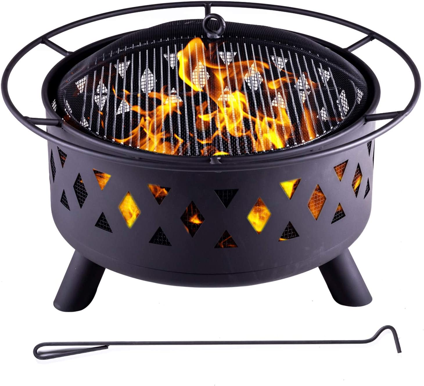 50% Off Coupon – Outdoor Bonfire Burning Wood Grill Large Size Fire Pit with BBQ Grill