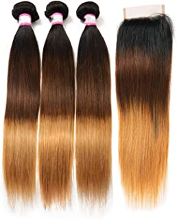 Brazilian Straight Hair Weave 2/3/4 Bundles With Closure 1B/4/27 Human Hair Bundles With Closure 8 30 Inch Remy Hair Extension,10 12 14 with 8,T1B/4/27,Free Part