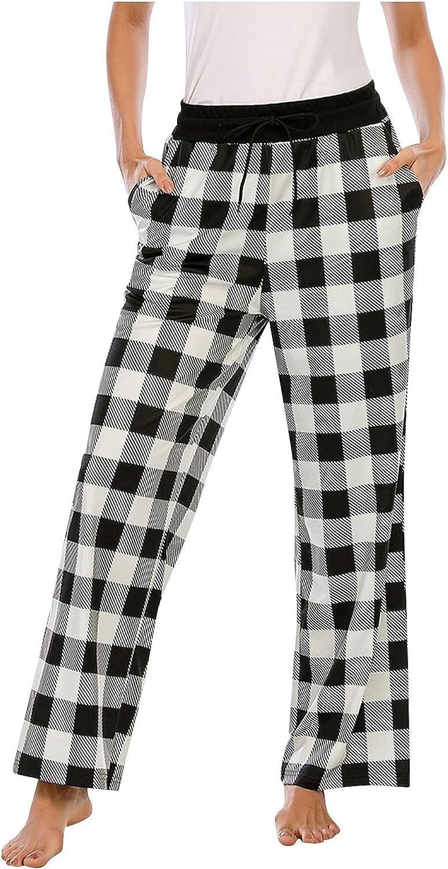 Women's Plaid Casual Pants Loose High Waist Wide Leg Long Pants