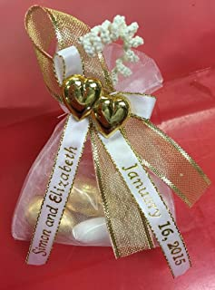 Unique Wedding Favors of Organza Bag with 5 Jordan Almonds, Personalized Ribbons & Double-Heart - Set of 10 Favors (Gold)