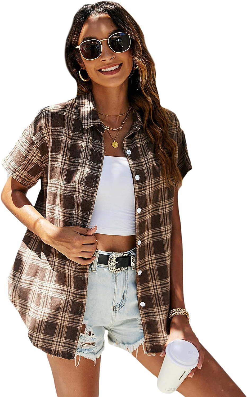 SheIn Women's Plaid Short Sleeve Button Front Blouse Lapel Neck Tunic Shirt Top