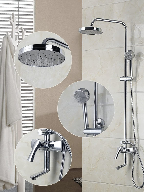 Round 8 ABS Plastic Shower Head 3 Water Ways Bathroom Brass Shower Set Wall-mount Chrome Shower Faucet DS-53035,Multi