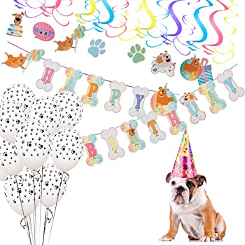 Mewtogo Dog Party Decorations- 16 Pcs Hanging swirls, 10Pcs Dog Paws Print Round Latex Balloons and Dog Happy Birthday Banner for Pet Doggy Puppy Birthday Supplies