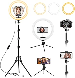 13 Zoll Ringlicht mit Stativ und Schreibtischständer, verstellbares LED Ringlichter mit ausziehbarem Stativ 59', Telefonhalter für iPhone Tiktok Streaming, Videoaufzeichnung, Zoom Meeting, Kamera