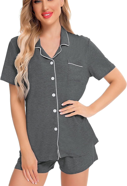 SWOMOG Womens Pajamas Set Short Sleeve Sleepwear Button-Down Nightwear Soft Pj Lounge Sets S-XXL