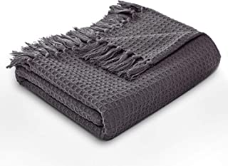 MOTINI Waffle Weave Blanket Throw Tassel Cotton Decorative Throw Gray Cozy Elegant Solid Knit Fringe Soft Blanket for Couch Bed Sofa, 50